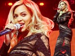 Beyonce and her bootylicious body steal the show in see-through dress as she joins Jay Z on stage at Super Bowl party