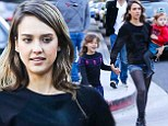 Fashionable fun! Jessica Alba and her girls are a match in woolly warm-up leggings on family trip to the park with Cash Warren