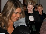 Did she get extensions? Jennifer Aniston shows off suddenly longer hair as she helps Portia de Rossi ring in her 41st birthday alongside Ellen DeGeneres