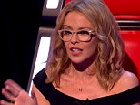 Spec-tacular: Kylie Mingoue is seen wearing her reading glasses in Saturday's episode of The Voice