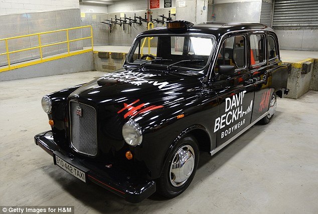 Very London: A black cab was on hand advertising the underwear