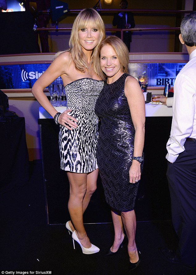 Heidi poses with Katie Couric inside the party which celebrated Howard's 60th birthday