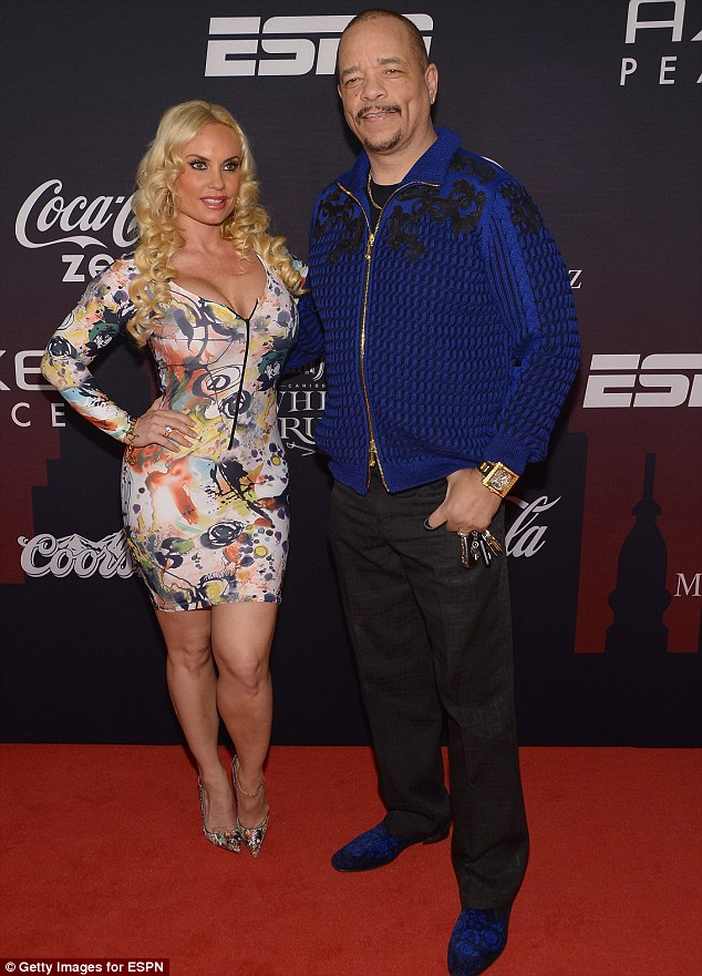 Va-va-voom! Coco Austin showed off her assets in a multicoloured number as she arrived with her husband Ice-T