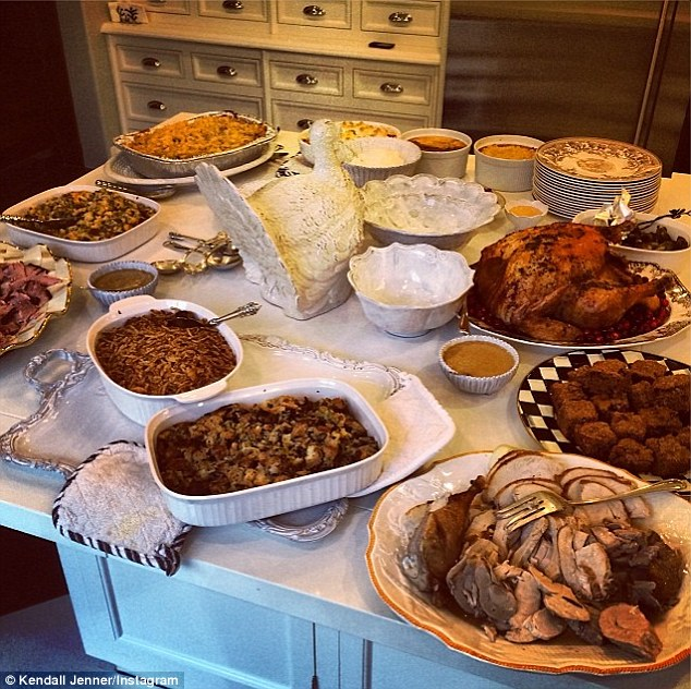 Enough to feed an army: Kendall Jenner tweeted several photos of her family's epic feast as they dug in for an afternoon of delicious food