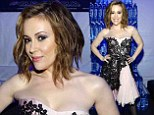 Alyssa Milano looks lovely in a lacy pink frock while hosting Maxim's Big Game Weekend bash in NYC