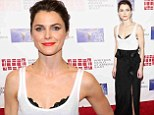 Keri Russell unleashes her racy side in bra displaying top and skirt with thigh slit at Writers Guild Awards