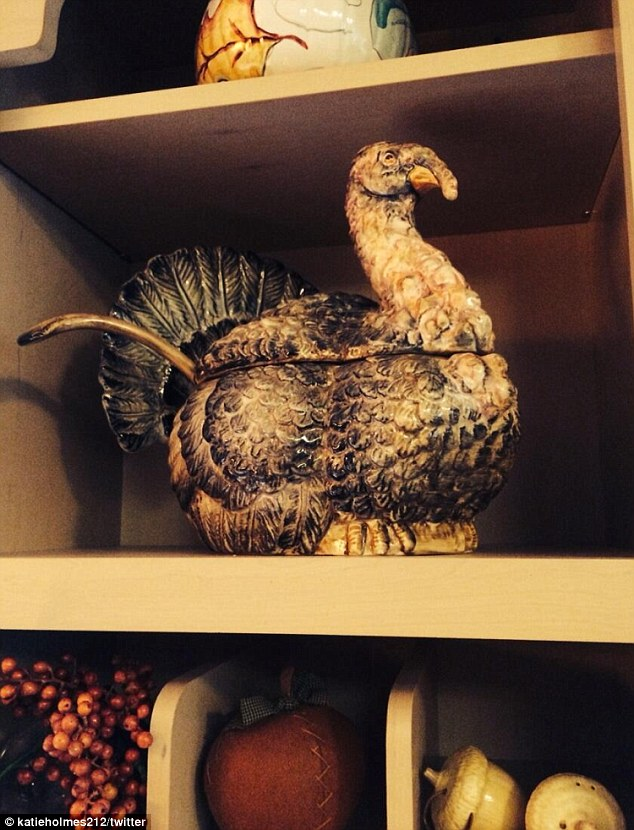 Gobble, Gobble! Katie Tweeted this photograph of a handsome turkey dish at her parent's house in Toledo, Ohio, where she spent Thanksgiving with Suri.