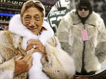 Back to the future! Joe Namath, 70, attends Super Bowl in huge fur coat which is almost identical to one he wore in the Seventies