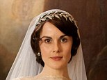 Bride: The tiara worn by Michelle Dockery on Lady Mary's wedding day is available for £1,250 a day