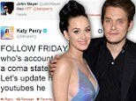 Katy Perry encourages followers to welcome boyfriend John Mayer back to Twitter 'who's account has basically been in a coma state'