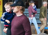 Devoted: Doting dad Owen Wilson and and his cute boy Robert Ford Wilson are seeing out and about in Malibu
