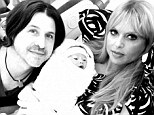 Home with baby: Rachel Zoe and husband Roger Berman will stay at home in Los Angeles with baby Kaius (middle), rather than traveling to New York Fashion Week