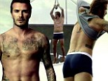 David Beckham zip-lines in his pants then ends up naked in gratuitous Super Bowl advert for H&M's Body Wear