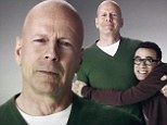 He's going to die soft! Movie hardman Bruce Willis hugs it out in Super Bowl advert