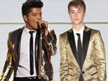 The closest he'll ever get! Justin Bieber leaves his mark on Super Bowl show after Bruno Mars steals his golden jacket look