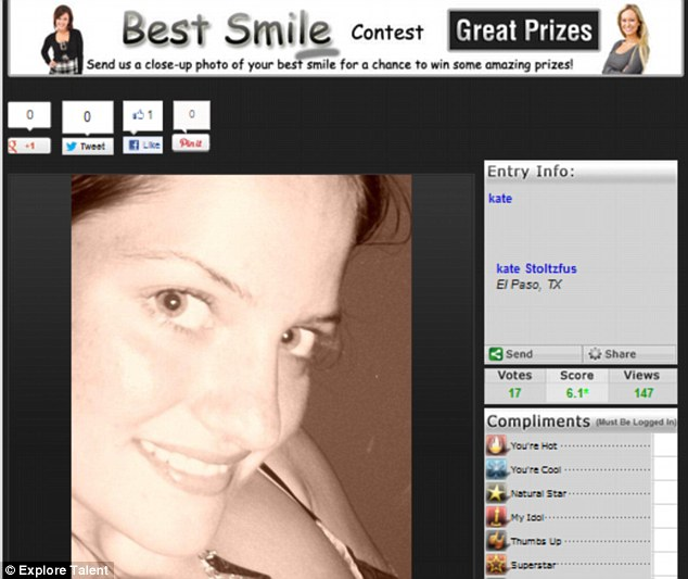 Aspiring model: A photo of Kate has been found online from a smiling contest in 2010