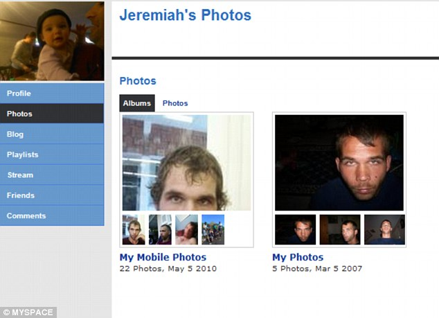 Past: Photographs from an old MySpace page show Jeremiah looking decidedly un-Amish