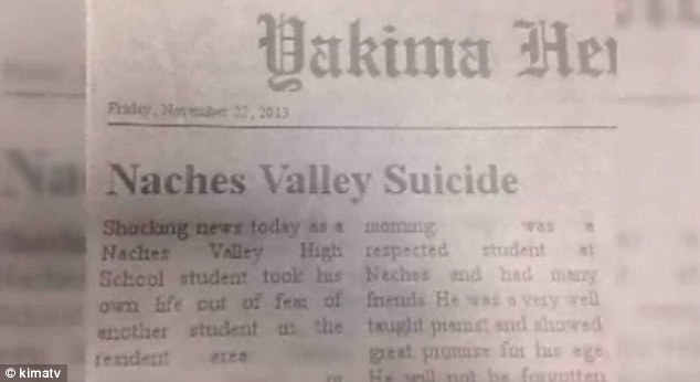 Suicide: This fake notification in the Yakima Herald that was placed onto the boys Facebook is seen here
