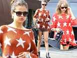 Sharing clothes? Selena Gomez dons the same star-spangled jumper as her BFF Taylor Swift for lunch in Tarzana
