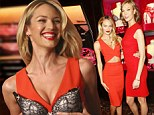 She's no Angel! Candice Swanepoel holds a lacy push-up bra over her chest as she smoulders in cut-out dress with Karlie Kloss