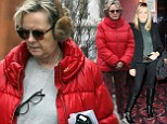 Make-up free Twiggy looks unrecognisable in frumpy red coat, furry earmuffs and grey trainers