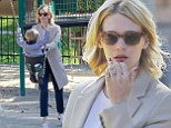 January Jones takes son to the park