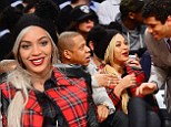When superheroes meet in person! Beyonce and Jay Z are thrilled to share courtside seats with Seattle Seahawks quarterback Russell Wilson at NBA game