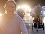 On the road: Naomi Watts and Liev Schreiber took their sons for a day of cycling but failed to use safety lights