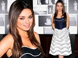 Mila Kunis ditches the sweatpants to glam up in strapless navy and white dress while promoting new jewellery campaign