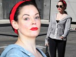 She Can Do It! Rose McGowan channels Rose the Riveter with bright red accessories on fitness outing