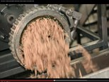 Meat is put through a giant grinder once it's been seperated