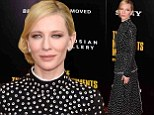 Cate Blanchett was back in professional, but understandably sombre mode, stepping out on the red carpet at the New York City premiere of The Monuments Men on Tuesday.