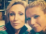 And breathe! Gwyneth Paltrow relaxes on Glee set with Jane Lynch after Vanity Fair editor decides to sit on story about her