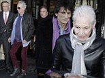 Out and about: The Rolling Stones stepped out in Paris in similar purple attire