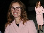 In the pink: Julia Roberts arrives to the Aero Theatre in Santa Monica for a Q&A for her movie August: Osage County