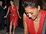 Sexy: Nicole Scherzinger wows in a sexy red leather coat dress at Sony Music dinner