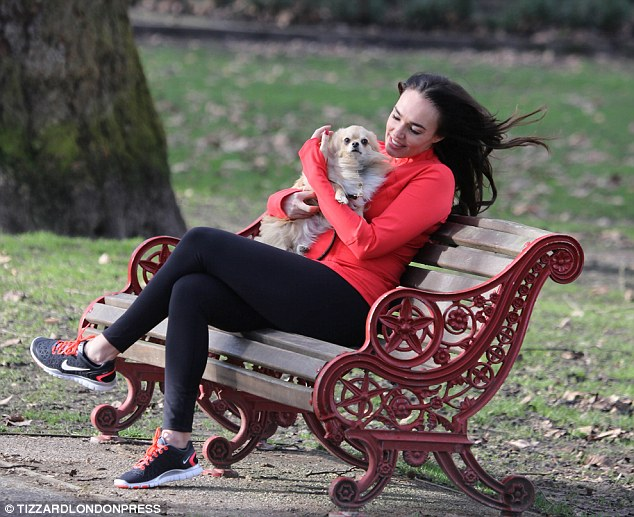 Mummy glow: With her baby due next month Tamara is keeping herself - and her dog- fit by walking a lot