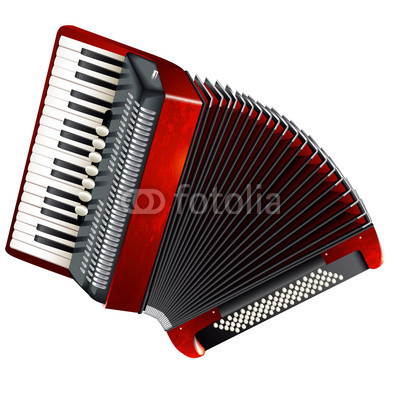 Classical accordion, isolated on white background