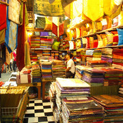 Thai silk vendor at Chatuchak Weekend Market in Bangkok
