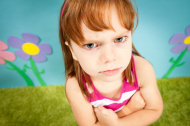 Angry Little Girl, With Red Hair, in Whimsical World