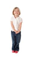 Laughing Caucasian Little Girl Full Length