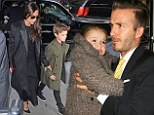After the runway show it's the dinner party! David Beckham takes family to lunch to celebrate Victoria's NYFW success
