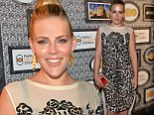 How very Busy of you! Ms Phillips attracts the interest in sheer micro-print dress at Family Equality Council bash