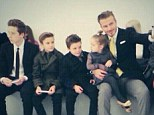 Front row family: David Beckham took a selfie with the children as they waited for Victoria's AW14 NYFW show to begin