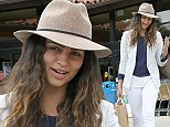 No muss, no fuss! Camila Alves hides wavy hair and make-up free face under beige brimmed hat for Malibu shopping trip