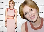 Abs-olutely lovely! Bella Thorne displays her tiny waist in pink and brown two-piece dress at Lacoste fashion show