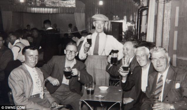 Arthur Reid (far left) at The Griffin in the 1940's when he often had a bit more than just one pint