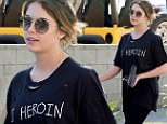 Is that really a good idea? Ashley Benson wears a T-shirt emblazoned with 'DJ Heroin' days after tweeting about Philip Seymour Hoffman