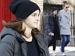 Emma Watson goes make-up free as she pops out for groceries in thick quilted jacket and heart-motif trainers