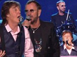 Rare reunion: Paul McCartney and Ringo Starr performed together in a special that aired on Sunday celebrating the 50th anniversary of their first appearance on US television